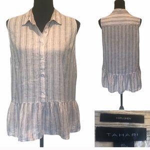 Tahari linen sleeveless top peplum waist large